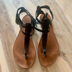 Joie A La Plage Black and Tan Leather Sandals